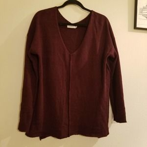 Lush Maroon large L tunic sweater pullover knit